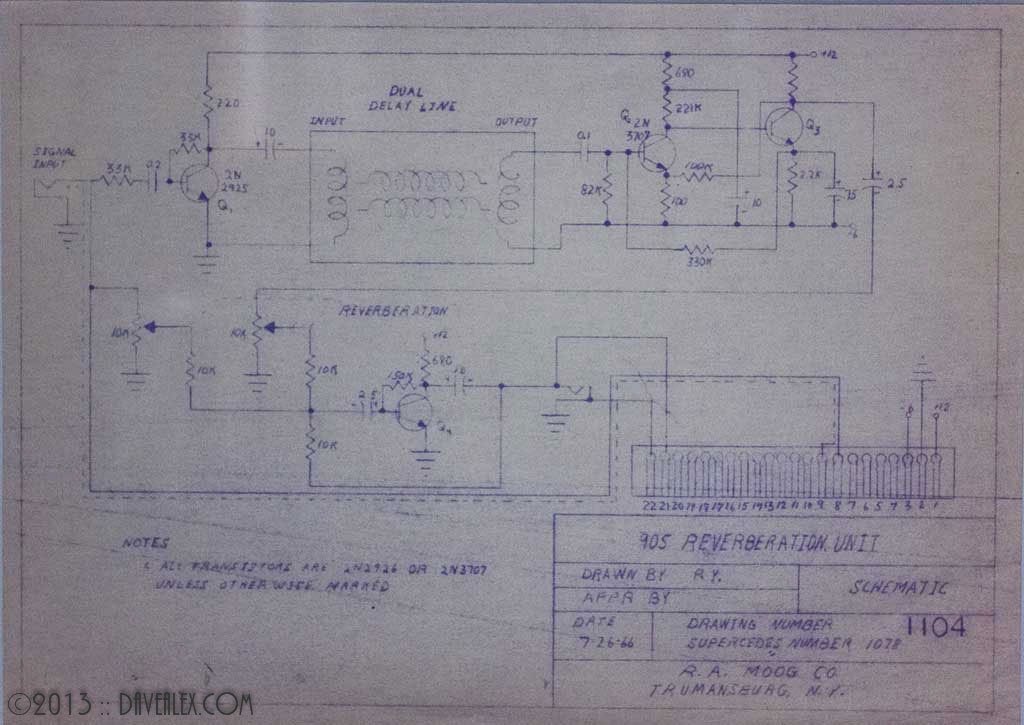 Moog 905 Reverberation Schematic