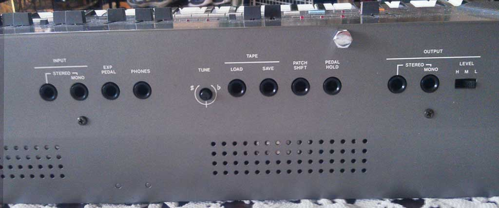 The interface of this synth!  MIDI In/Out/Thru and program protect are not shown