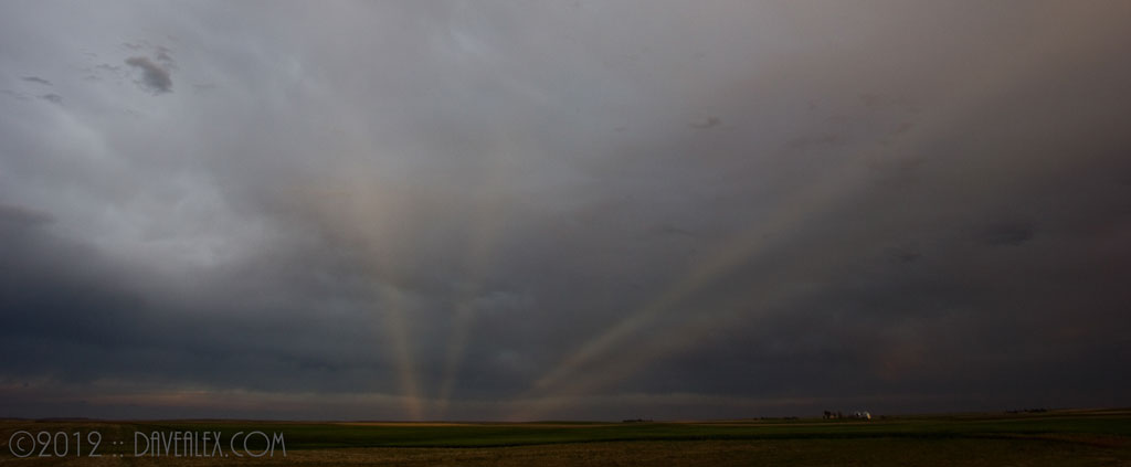 Anti crepuscular rays looking east