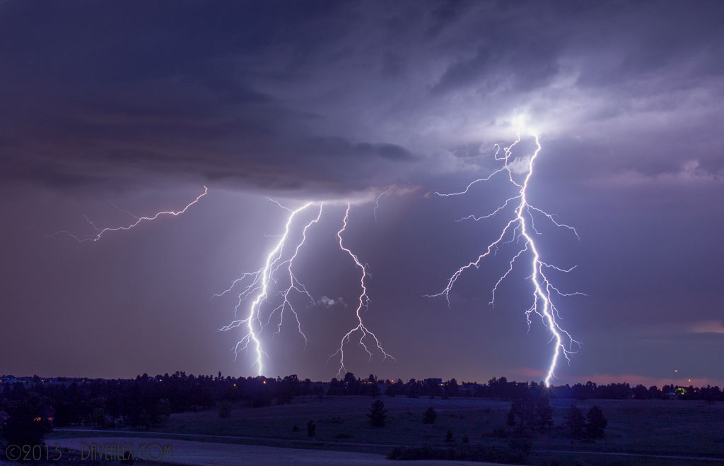 Two Lightning stills merged SE of Parker Colorado, July 13, 2011