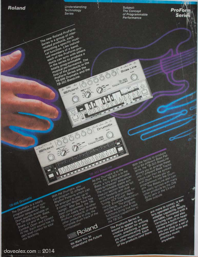 Roland ProForm Advertisement TR-606 and TB-303