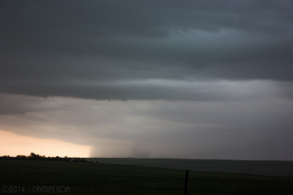 6/8/2014.  South of Matheson I saw what looked to be a weak tornado; but before I could catch up to it the rain and hail overtook us both.