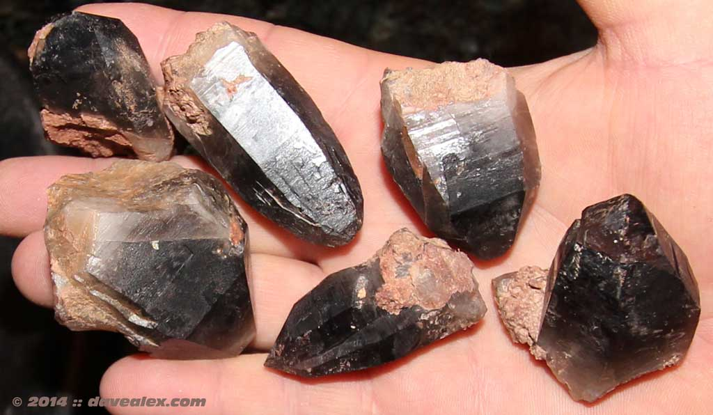 Some examples of the smoky quartz I found (still to be cleaned)