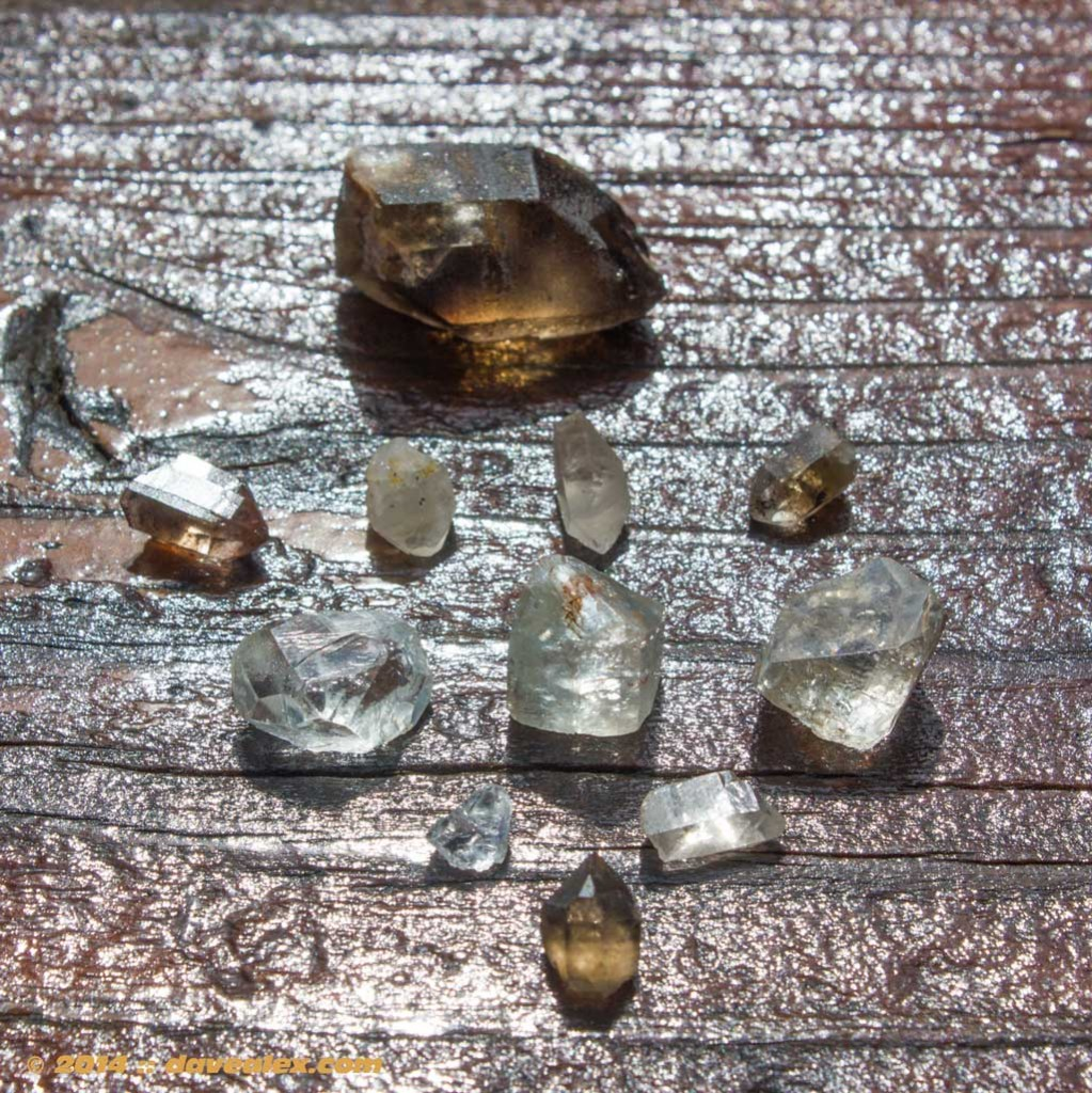 "The finds of the day...all relatively small but my first ""hand dug"" topaz I've ever found!"