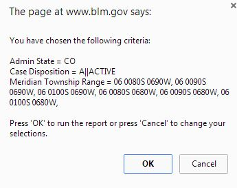 Ensure all values are uppercase, and click ok to run the report against the BLM's Oracle/Hyperion database.