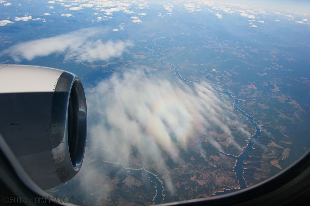 "Interesting ""rainbow"" feature from the airplane over Washington state."