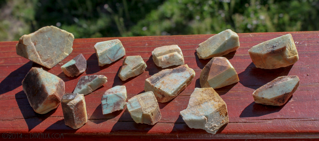 Some light colored Amazonite crystals.