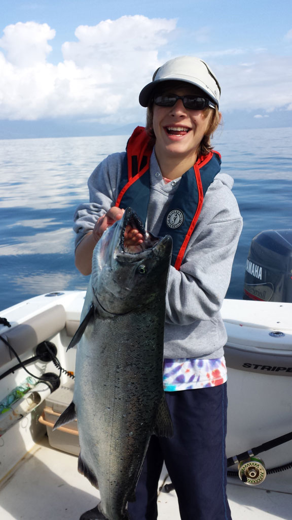 Hunter and his big fish of the trip; this took a while for him to land...but worth it!  20 lb Chinook (Spring).