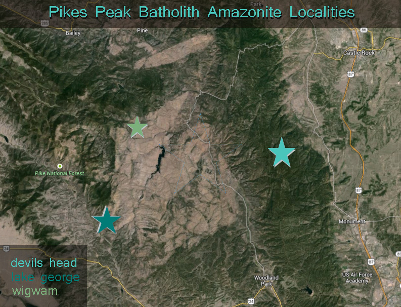 Pikes Peak Batholith Amazonite location map