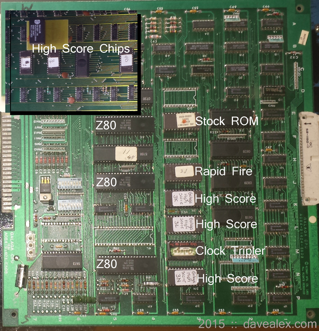 Here are all the mod chips in my Galaga.  Notice the Z80s...multi-Z80 machine.  Awesome computing power!