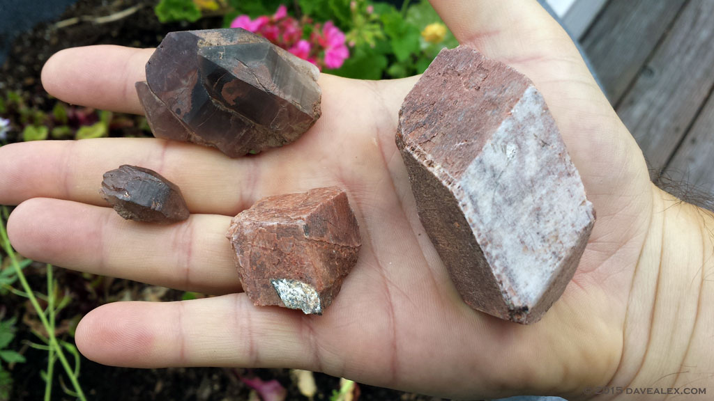 A nice euhedral microcline (right), microcline with mica, triple quartz cluster and double terminated smoky quartz
