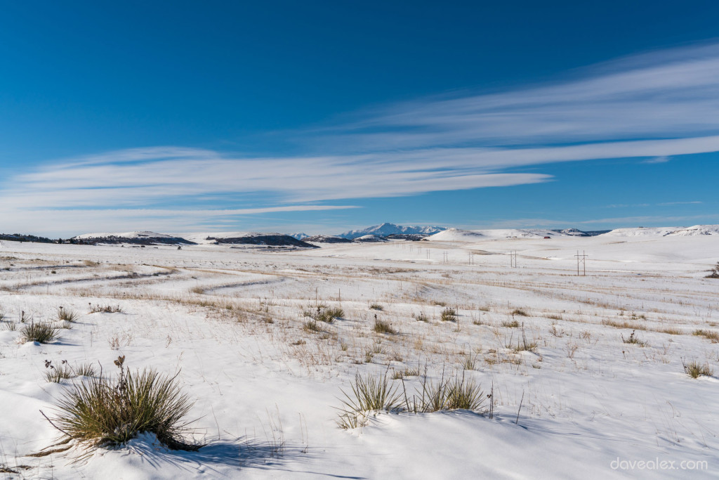 Looking over the Palmer Divide towards Pikes Peak at 32mm, f/8, 100 ISO.