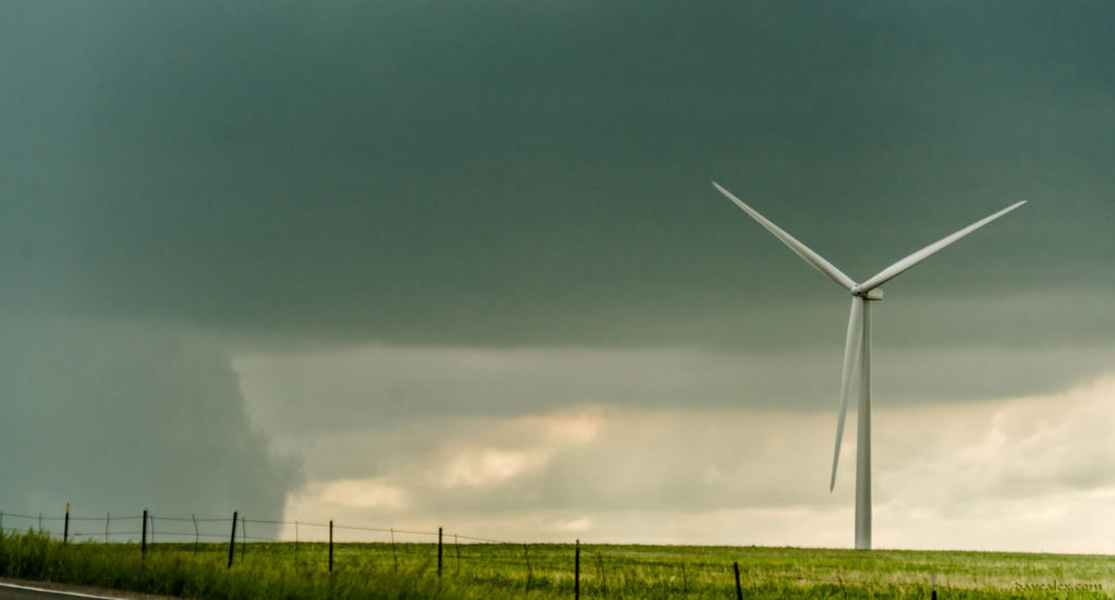 Yoder wind farm and wall cloud
