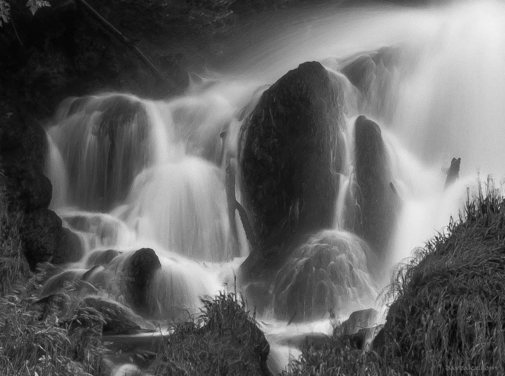 B&W Middle Falls