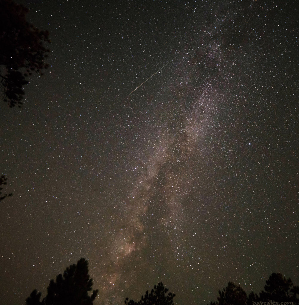 Stacked Milky Way photos (6 of them) with a Perseids meteorite